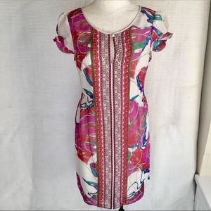 Boho Embellished Shift Dress Bright Party Print